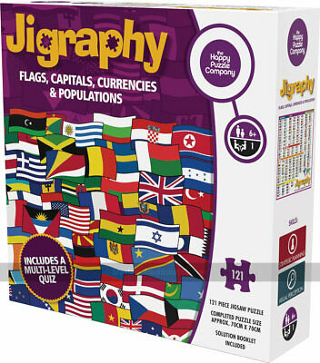 Jigraphy Flags, Capitals, Currencies And Populations 121 Piece Jigsaw Puzzle • 22.49£