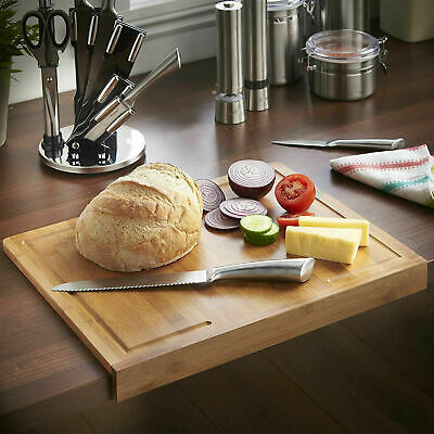 Wooden Chopping Board With Counter Edge Secure Cutting Block Non Slip Kitchen  • 11.99£