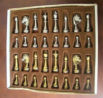 Vintage Solid Metal CHESS Pieces Complete Set (No Board) - King Height: 7cm • 149£