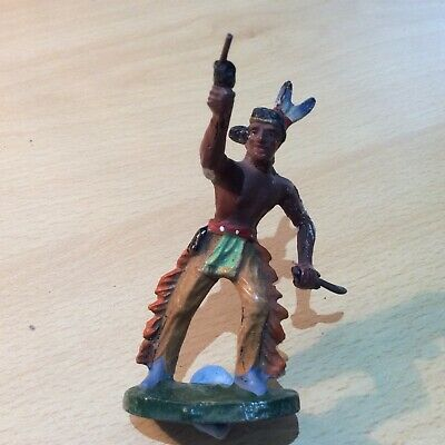 Elastolin American Red Indian Holding Gun And Knife • 8.95£