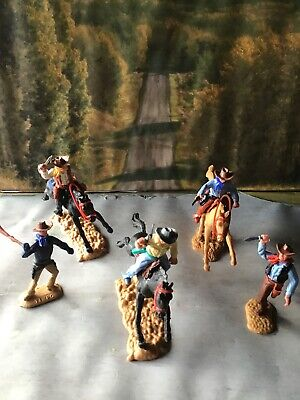 Vintage Timpo Toys Western Cowboys 3 Mounted Figures 2 Standing  • 25£