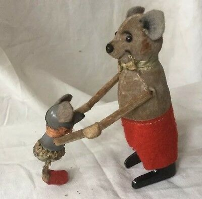 German Clock Work Wind Up Toy Schuco Patent Bear With Micky Mouse • 100£
