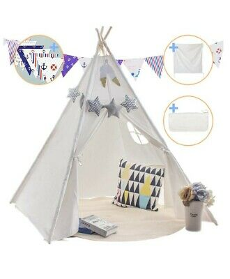 Kids Teepee Tent Childrens Wigwam Indoor Outdoor Play Padded Mat Carry Case • 25.99£