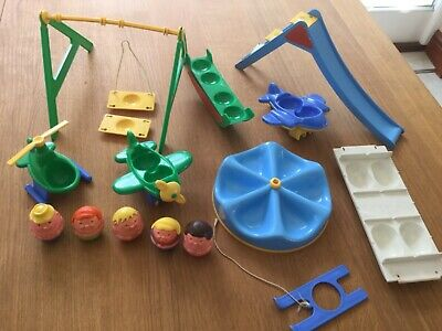 Vintage Weebles Figures Helicopter Planes Slide Swing Ski Roundabout Seesaw  • 25£