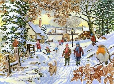 House Of Puzzles Big 500 Piece Jigsaw Puzzle Finavon Collection - Snowy Walk • 15.99£