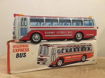 RARE 1960's TINPLATE NOMURA T.N. HIGHWAY EXPRESS BUS MADE IN JAPAN BOXED • 50£