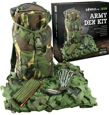 Gift Boxed Kids Army Den Kit Boys Camo Net Rucksack Pegs Face Paint Paracord Dpm • 34.99£