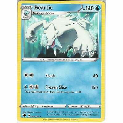 Pokemon 049/189 Beartic | Rare Sword & Shield Darkness Ablaze Trading Card Game • 0.99£