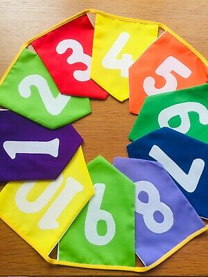 Handmade Educational 1-10 White Fabric Numbers On Bright Coloured Fabric • 9£