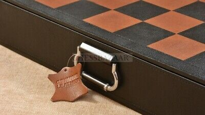 Genuine Leather Chessboard With Built-in Storage In Black Anigre - 19  - 55mm • 303.99£