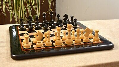Combo Of Repro Antique Russian Chess Pieces In Ebonized/ Ebony Chess Board 4.1  • 299.42£