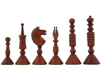 Reproduced Antique Circa 1800 Handcarved Chess Pieces In Bud Rosewood- 4.6  King • 132.23£