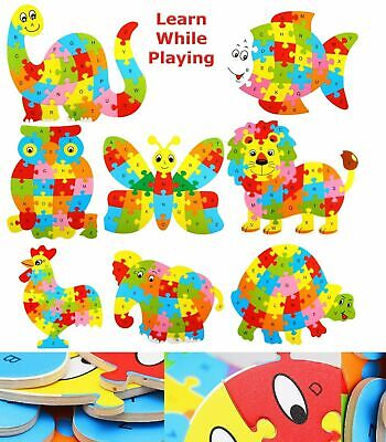 Wooden Alphabet Numbers Jigsaw Animal Puzzle Toys Children Educational Learning • 3.85£