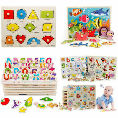Wooden Animal Letter Puzzle Jigsaw Early Learnin Kids Educational Toys 30 Design • 3.75£