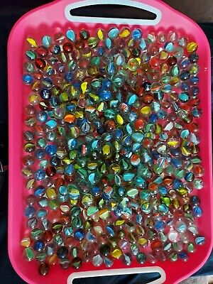 Vintage Glass Cats Eye Marbles, Bundle Of 60 Assorted Colours • 10£