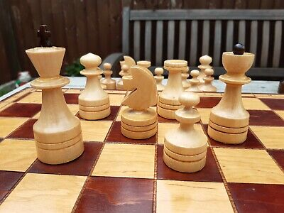 Nicely Made Vintage Chess Set And Board Boxwood Folding Large Piece Contemporary • 20£