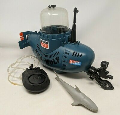 Vintage Action Man Sea Wolf Submarine Vehicle, Nice Condition, Palitoy 1970s • 65£