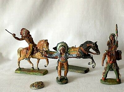 Antique Lot 6x Elastolin American Red Indian Figures / Horses. 2 Heavily Damaged • 19.95£