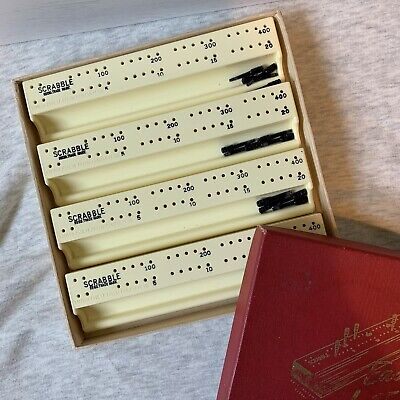 Scrabble Vintage Easy Score Letter Racks With Marker Pegs Red Box Spear's Games • 8.95£