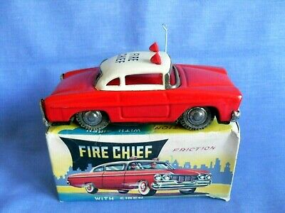 Vintage 1960s Tinplate Fire Chief Car - Friction Drive Excellent Condition Boxed • 4.99£