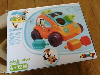 New In Box Smoby 212218 Cotoons Shapes In Holes Games Car - 12 Months And Up • 9.99£