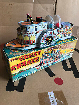 Vintage Circa 1964 US River Steamer Friction Powered Japanese Tin Plate Toy Boat • 75£
