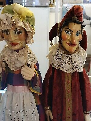 Antique Punch And Judy + Baby Hand Puppets. • 270£