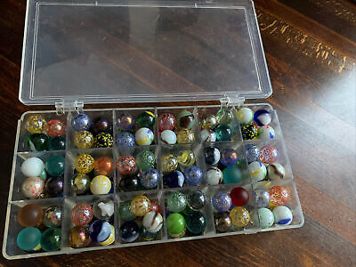 142 Glass Marbles Mixed Colours & Designs - Boxed  • 3.50£
