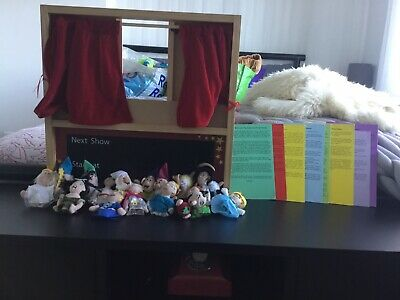 Wooden Puppet Show With ELC Puppets And Story Cards • 20£
