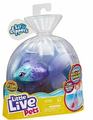 Little Live Pets Lil' Dippers Series 1 - Blue Furtail Swimming Fish Water Toy • 10£