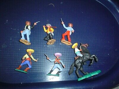 Vintage Timpo - 3 Cowboys On Foot 3 Mexicans 1 On Horseback • 8.11£