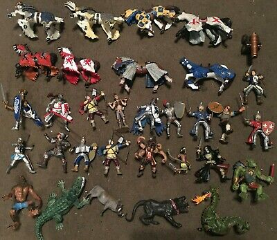 33 Piece Schleich / Papo Bundle Of Knights, Horses, Animals & Mystical Creatures • 59.99£