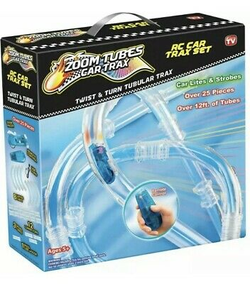 Zoom Tubes Car Trax RC Car Trax Set With Blue Racer And Tubes FREE POST • 19.99£