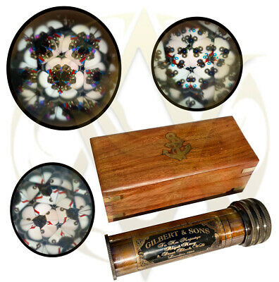 Classic Kaleidoscope With Wooden Box Children Toys Kids Science Vintage Gifts UK • 20£