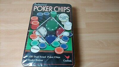 Tin Of 100 Professional Dual-toned Poker Chips By Cardinal. Unused. • 6.99£