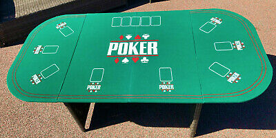 Large Folding Poker Table Top 160cm X 80cm + Poker Chip Set - Total Of 8 Players • 25£