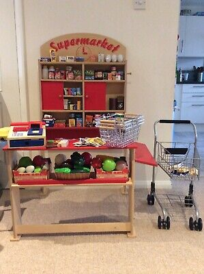 Kids Wooden Toy Supermarket Shop W Trolley Baskets Register Food • 69.99£