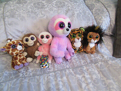 TY PLUSH  BUNDLE  X 7 - ALL WITH  SPARKLY EYES- EXCELLENT CONDITION • 3.99£