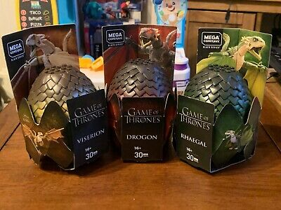 3 X Mega Construx Game Of Thrones Dragon Egg - Black Series - NEW - Complete Set • 16£