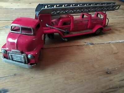 SSS Japanese Friction Toy Tin Plate Fire Truck Engine • 50£