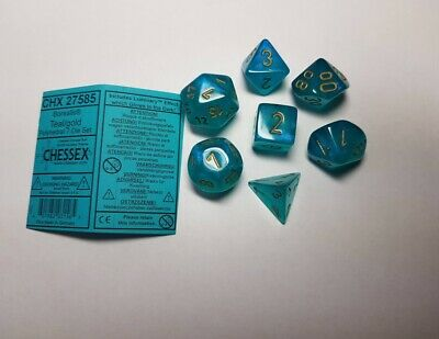 Chessex New Luminary Borealis 7 X Polyhedral Dice Set Teal D&D RPG • 8.49£