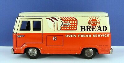 Vintage Japanese Tinplate Friction Drive Sun Bread Delivery Van • 15£