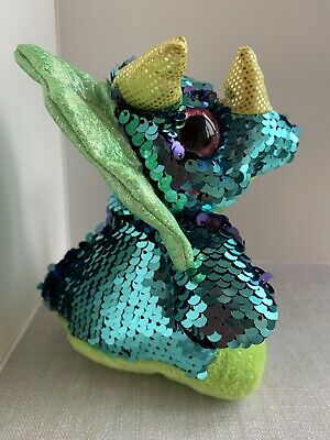 'GLITZIE' TRICERATOP' DINOSAUR REVERSIBLE SEQUINED SOFT TOY 18cm (7.5 ) TALL • 1.99£