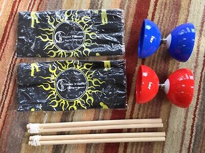 2x Juggle Dream Carousel Bearing Diabolo Sets 1x Red 1x Blue With Sticks • 4£