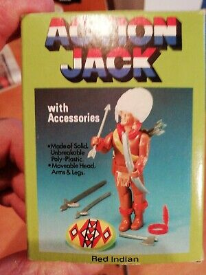 Vintage Action Jack Figures + Accessories. Red Indian, Firefighter And SAS.  • 12£