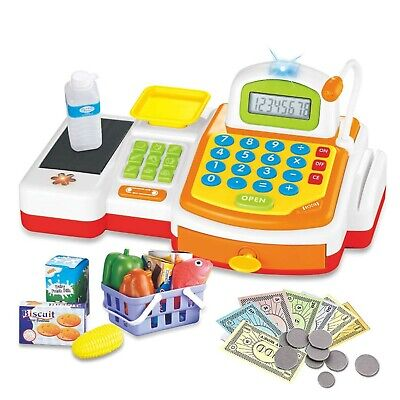 DeAO Yellow Supermarket Store Toys Cash Register, Credit Card, Food, Basket M... • 48.26£