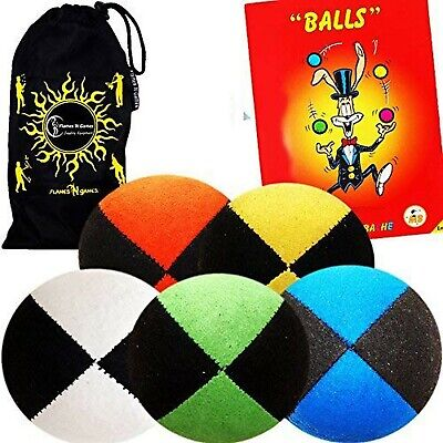 Pro Suede Juggle Balls - Juggling Balls Set Of 5 + Juggling Ball Book Of Tric... • 50.96£