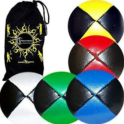 5x Pro Thud Juggling Balls - Deluxe (LEATHER) Professional Juggling Ball Set ... • 47.84£