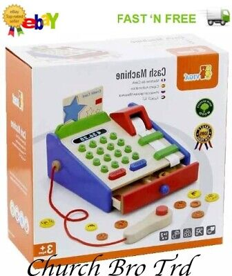 New Viga Wooden Toy Cash Machine Register Play Pretend Classic • 9.95£