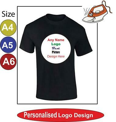 Iron On Heat Transfer T Shirt Custom Picture Photo Name Personalized Any Text • 1.96£